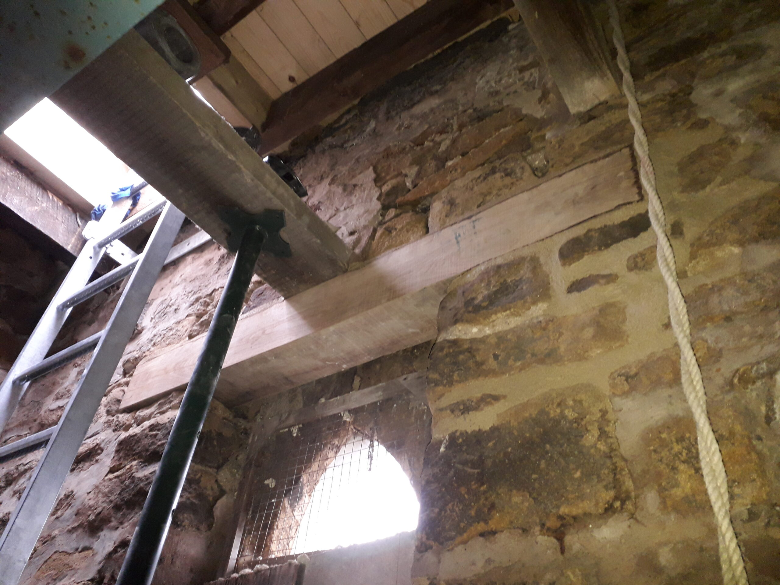 interior view of oak lintel within church tower