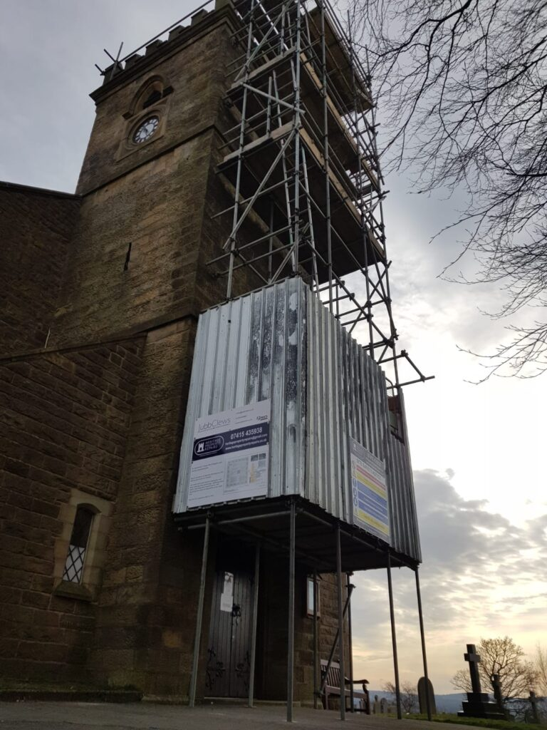 church tower with full-height scaffold