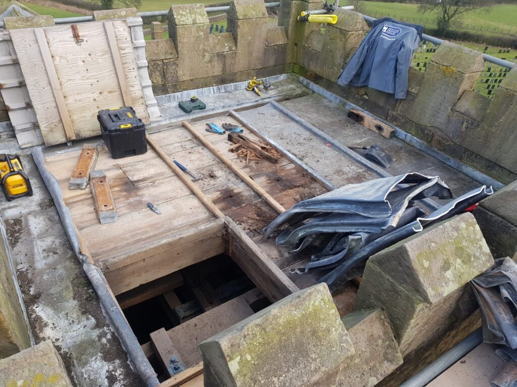 church tower roof with lead sheeting removed
