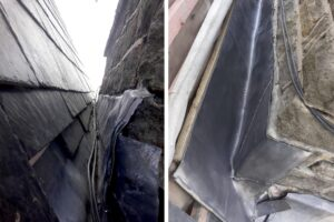 split view of lead work - before and after repair work