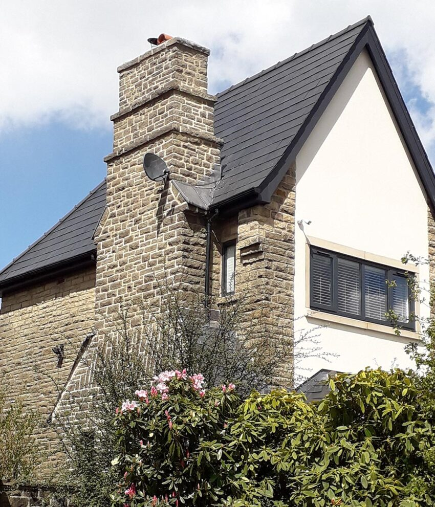 gable end view of house showing restored chimney