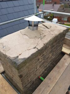 broken cement topping chimney