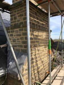 exterior chimney adjoining roof