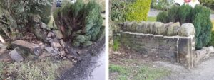 split image showing before and after of a dry stone wall restoration