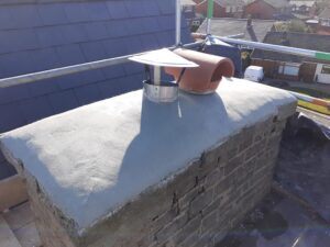 top of chimney showing newly completed lime capping