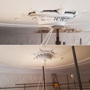 before and after restoration of a vented ceiling rose