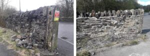 split image showing before and after restoration of an old wall with main road behind
