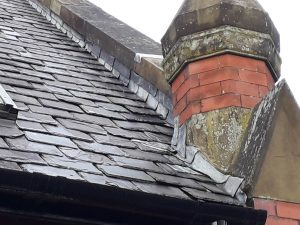 close up of roof showing lead work