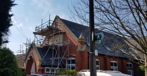 front evelation with scaffolding