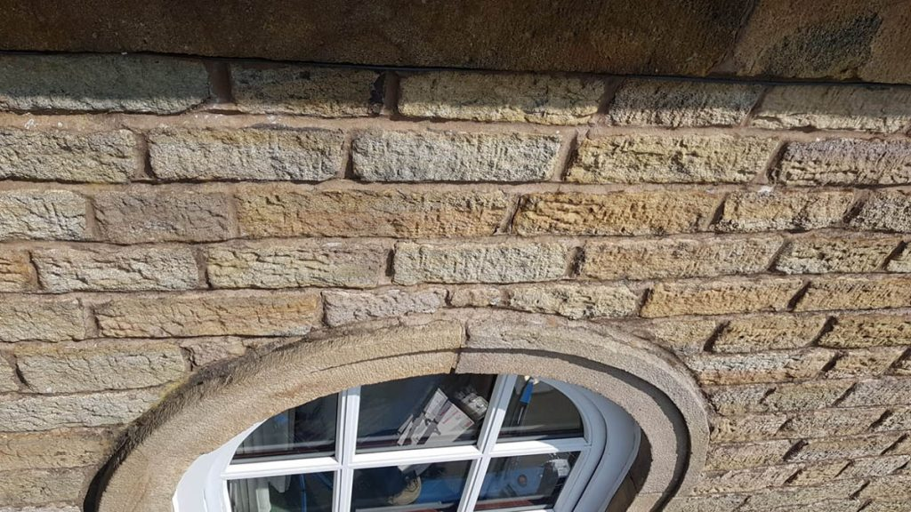 Arched window joint before lime fillet