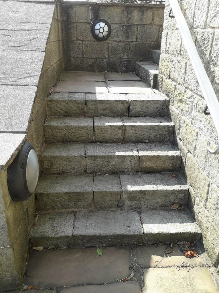 Stone steps before repointing