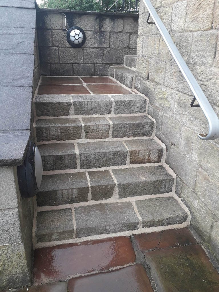 Lime repointed stone stairs